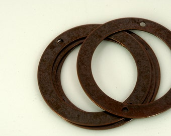 20 Pcs antique copper tone brass 32 mm circle tag two 2 hole connector charms ,findings 7AC-58