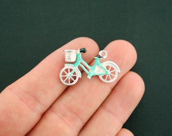 4 Bicycle Charms Silver Plated Enamel Fun and Colorful 3D Amazing Detail E328