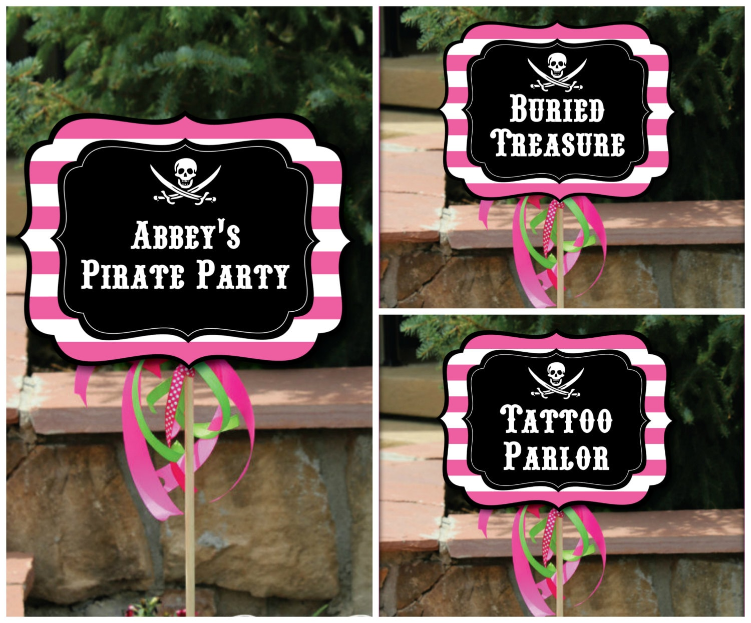 Pink Pirate Party Signs with Editable Text Printable DIY Pink