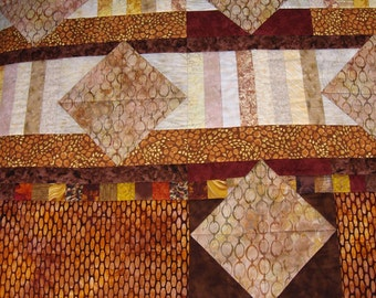 Brown Throw Quilt, Batik, Couch Quilt, Mans Quilt, Sofa Quilt
