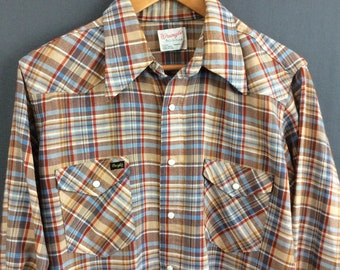 Vintage Western Pearl Snap Shirt Mens Snap Shirt Plaid Western Shirt L XL