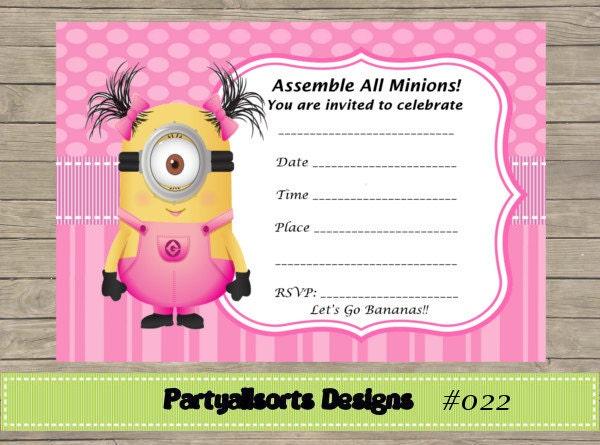Fill in yourself minions girls pink invitations zoom stopboris Images