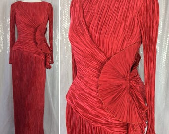 Stunning Scarlet Vintage 1980's Iconic Fortuny Pleated Evening Dress Label: Mary McFadden Couture 2nd Label-Saks Fifth Avenue UK Size 8 80's