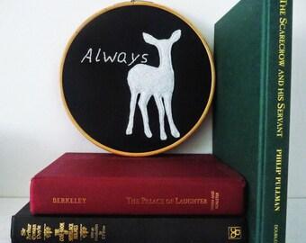 Harry Potter Inspired Always Doe Patronus Embroidery Hoop