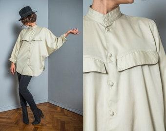 Oversize blouse | vintage shirt | 80s blouse | band collar | pastel green blouse | women spring blouse | batwing blouse | hipster shirt |