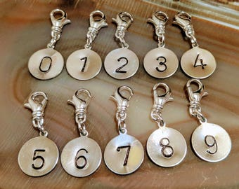 "Hand stamped 1/2"" aluminum disc gothic font number numeral numbers charms with swivel lobster clasp perfect instant personalization!"