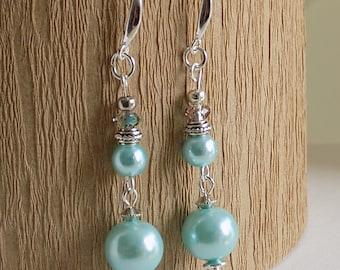 Aqua/ Turquoise drop and dangle glass pearls earrings