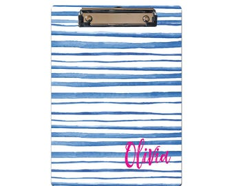 Personalized Clipboard blue watercolor stripes pattern monogrammed choose text colors