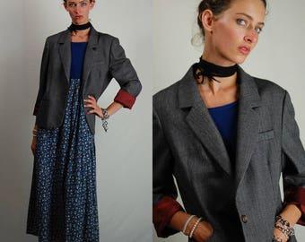 Tweed Jacket Vintage Brown Wool Tweed Preppy Menswear Blazer Jacket (m l)