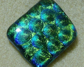 Dichroic Glass Cabochon - Fantastic Multicolored Blue, Green & Teal Rectangle, Handmade by JewelryArtistry - DC868