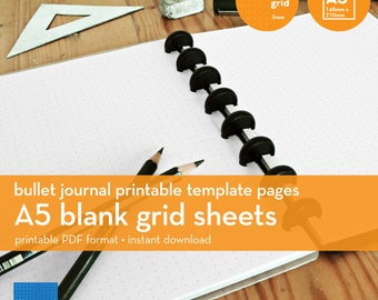 A5   Blank Grid Sheets   Bullet Journal Printable Template   Dot grid   5mm
