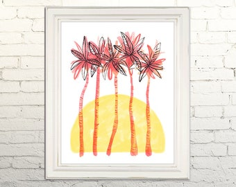 PALM TREES Digital Art Print Watercolor Illustration Beach Summer Nursery Art Clipart Gallery Tropical Beach Leaves Sunset Vacation Cabana