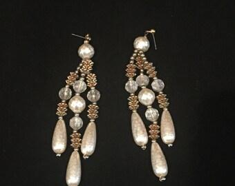 Vintage 1980 Beaded Chandelier Earrings