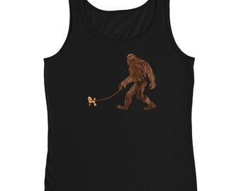 Sasquatch Shirts, Bigfoot Shirts, Yowie Shirts, Yeti Shirts, Funny Bigfoot, Bigfoot Walking Poodle, Poodle With Bigfoot, Squatch Tank