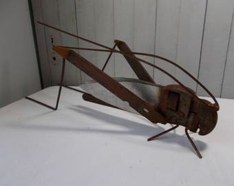Recycled Garden Art Metal Grasshopper / Junk Art/ Yard Art