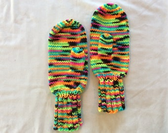 Hand knit mittens, adult