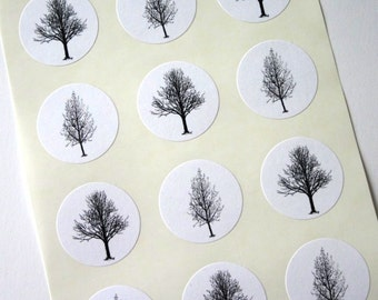 Winter Trees Stickers - One Inch Round Seals