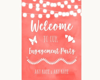 Coral Watercolour Lights Welcome To Our Engagement Party Wedding Sign
