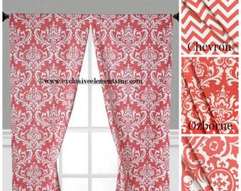 Coral Curtain Panels Modern Chevron Damask Coral Drapery Window Treatments Set Pair