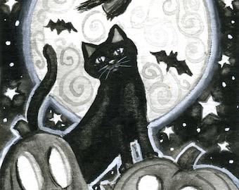 Halloween Night - 5x7 print - by Brenna White - black cat witch moon stars pumpkins jack-o-lanterns