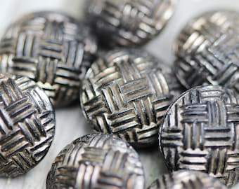 Set of 8 Black Glass Basketweave Buttons with Silver Luster