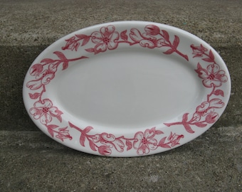 senango ironstone red dogwood platter 1950s mid century restaurantware rim rol wel roc