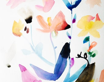 Colorful florals || watercolor painting || gallery wall art