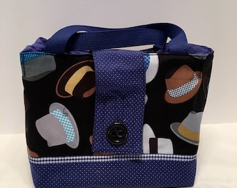 "LBL5- Tall Lunch Bag- Large: ""Hats Off""  washable insulated lunch bag with drawstring closure at the top."