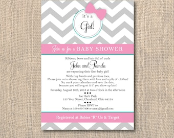 Chevron Baby Girl Hair Bow Shower Invitation - 5x7 PRINTABLE