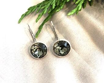 Sterling Silver Black Diamond Swarovski Drop Earrings