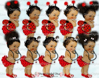 Ladybug African American Vintage Baby Girl Ruffle Pants | Wings Antennae Pearl Necklace Afro Puffs Natural Hair | Clipart Instant Download