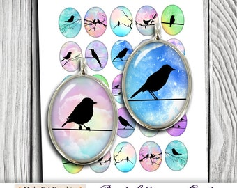 Bird Silhouettes Oval Images 30x40mm, 22x30mm 18x25mm for Jewelry Making - Digital Collage Sheet - Instant Download