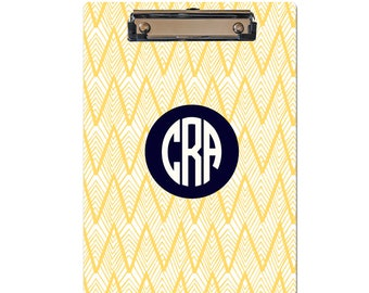Personalized Clipboard yellow IKAT chevron pattern monogrammed clipboard choose text colors