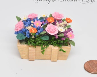 1:12 Dollhouse Miniature Camations & Flowers in Rustic Planter/ Miniature gardening/ miniature flower BD A039