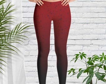 Leggings in Red Ombre, Clothing, Art Leggings, Extra Small to Plus Size, Yoga Tights, Birthday Gift Idea for Exercise Lover