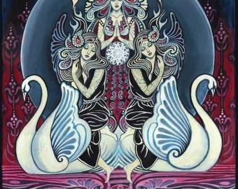 Cygnus Goddess of Swans 8x10 Fine Art Print Pagan Mythology Art Nouveau Goddess Art