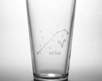 Aries Zodiac Constellation Pint Glass