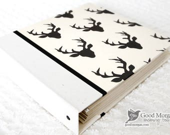 5 Year Baby Memory Book  - Black on Cream Deer