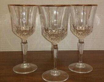 Vintage Cut Lead Crystal, Optic Stem, Gold Rim Wine Goblets, Glassware, Stemware, Barware
