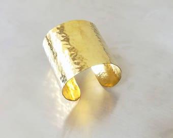 Hammered Wide Cuff Silver Gold  Wrist Bracelet made of brass , copper ,aluminium or german silver.