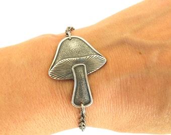 Steampunk Mushroom Bracelet Sterling Silver Ox Finish