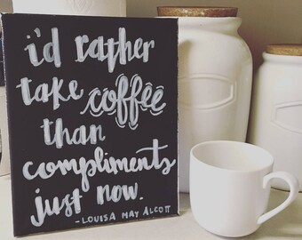 Coffee Canvas Art - Little Women - Louisa May Alcott - Chalkboard