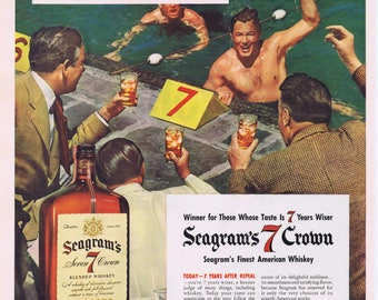 1941 Seagram's 7 Crown Whiskey 7 Years After Prohibition Repeal Original Vintage Ad