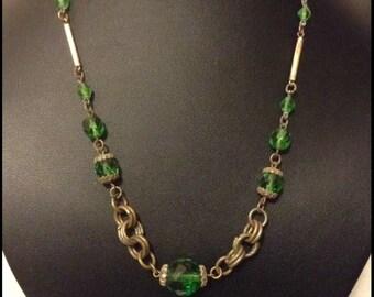 Vintage Edwardian Czech green crystal necklace