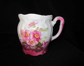Vintage Shaving Mug Pink Flowers Handle 3 Holes