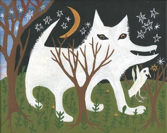White Wolf and Crow Art Print - Outsider Folk Artwork Wall Decor - Samoyed Husky German Shepard Dog Moon Stars