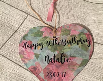 Personalised decoupage heart with a choice of message