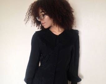 Vtg 80's VICTORIAN GOTH black broderie anglaise collar shirt blouse M/L