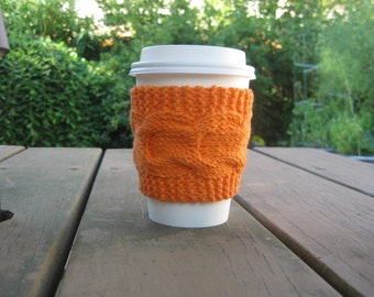 Knit Cup Cozy, Cable Knit Coffee Cup Sleeve, Hot Orange Graduation Teacher Gift, Cotton Yarn