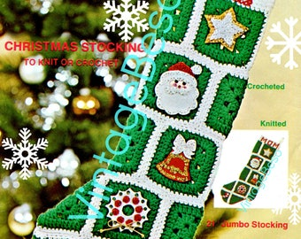 INSTANT DOWNlOAD • Christmas Stocking Crochet Pattern Bell + KNITTING Pattern Vintage 1970s Retro 1970s Granny Square Stocking PdF Pattern